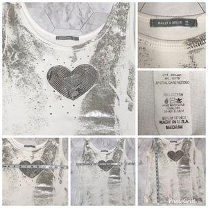 Nally & Millie Tops - Nally&Millie Sleeveless Silver Sequin ❤️ Tank Top